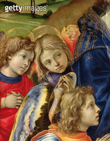 <b>Title</b> : The Vision of St. Bernard, detail of three angels, 1480 (oil on panel)Additional Infoapparition de la vierge a Saint Bernard;<br><b>Medium</b> : <br><b>Location</b> : Church of the Badia, Florence, Italy<br> - gettyimageskorea