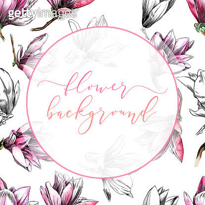 Magnolia Flower Design Template on Seamless Pattern in Watercolor and Ink - gettyimageskorea