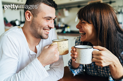 Happy morning couple - gettyimageskorea