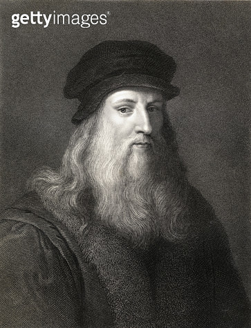 <b>Title</b> : Leonardo da Vinci (1452-1519) engraving)<br><b>Medium</b> : <br><b>Location</b> : Private Collection<br> - gettyimageskorea