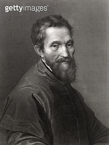 <b>Title</b> : Michelangelo Buonarroti (1475-1564) (engraving)<br><b>Medium</b> : <br><b>Location</b> : Private Collection<br> - gettyimageskorea