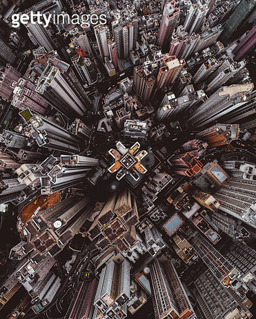 Aerial perspective of skyscrapers in Mid Levels district, Hong Kong Island - gettyimageskorea