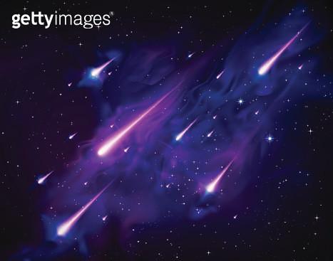 Vector Meteor Star Shower Falling Skies - gettyimageskorea