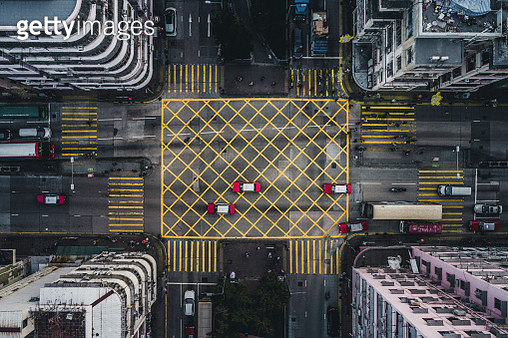 Taxis on a city road intersection, Kowloon, Hong Kong - gettyimageskorea