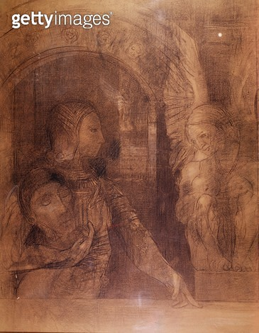 <b>Title</b> : The Mystical Knight or The Sphinx, c.1890 (charcoal)<br><b>Medium</b> : charcoal on paper<br><b>Location</b> : Private Collection<br> - gettyimageskorea