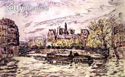 <b>Title</b> : Pont Louis-Phillipe, Paris, 1928 (w/c)<br><b>Medium</b> : watercolour on paper<br><b>Location</b> : Private Collection<br> - gettyimageskorea