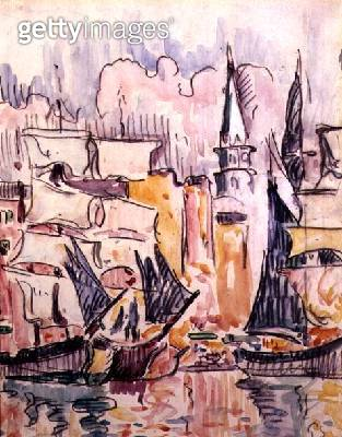 <b>Title</b> : Sailing Boats in a Port (w/c & pencil)<br><b>Medium</b> : watercolour and pencil on paper<br><b>Location</b> : Private Collection<br> - gettyimageskorea