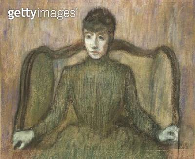 <b>Title</b> : Woman Sitting in an Armchair, c.1864 (pastel)<br><b>Medium</b> : pastel on paper<br><b>Location</b> : Private Collection<br> - gettyimageskorea