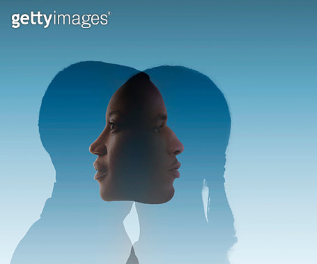 A man and a woman merge together on a blue background. - gettyimageskorea
