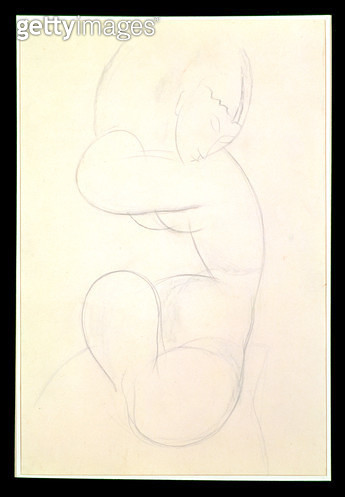<b>Title</b> : Seated Female Nude (blue chalk)<br><b>Medium</b> : blue chalk on paper<br><b>Location</b> : Private Collection<br> - gettyimageskorea