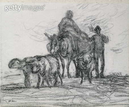 <b>Title</b> : Return from the Fields, 1873 (charcoal)<br><b>Medium</b> : charcoal on paper<br><b>Location</b> : Private Collection<br> - gettyimageskorea