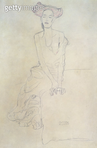 <b>Title</b> : Seated Woman, 1908 (pencil & crayon)<br><b>Medium</b> : pencil and red crayon on paper<br><b>Location</b> : Private Collection<br> - gettyimageskorea
