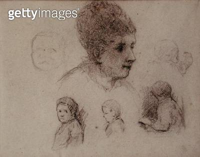 <b>Title</b> : Study of Heads, 1884 (black chalk on paper)<br><b>Medium</b> : black chalk on paper<br><b>Location</b> : Private Collection<br> - gettyimageskorea
