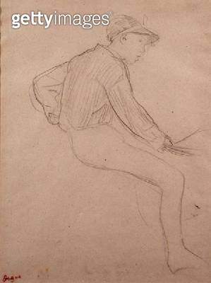 <b>Title</b> : Study of a Jockey (pencil on paper)<br><b>Medium</b> : pencil on paper<br><b>Location</b> : Private Collection<br> - gettyimageskorea