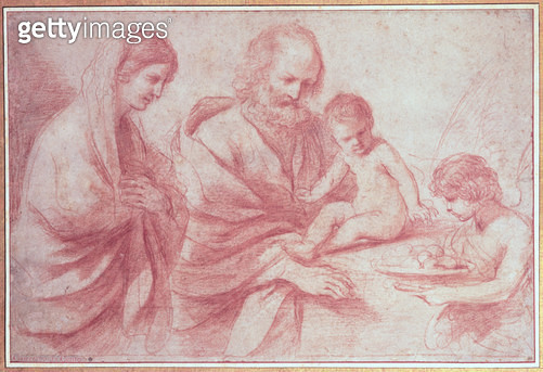 <b>Title</b> : Rest on the Flight into Egypt (red chalk on paper)<br><b>Medium</b> : red chalk on paper<br><b>Location</b> : Private Collection<br> - gettyimageskorea