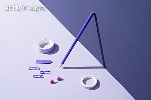 Purple Office Supplies Collection - gettyimageskorea