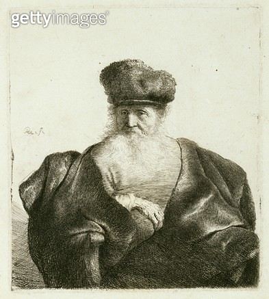 <b>Title</b> : An Old Man with a Beard, Fur Cap and a Velvet Cloak, c.1632 (etching)<br><b>Medium</b> : etching<br><b>Location</b> : Museum of Fine Arts, Houston, Texas, USA<br> - gettyimageskorea