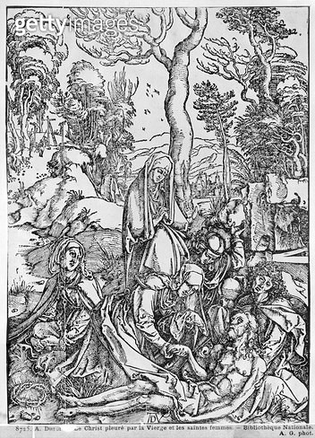 <b>Title</b> : Christ mourned by the Virgin and the female Saints, from 'The Great Passion' series, 1497-1500 (woodcut) (b/w photo)<br><b>Medium</b> : woodcut<br><b>Location</b> : Bibliotheque Nationale, Paris, France<br> - gettyimageskorea