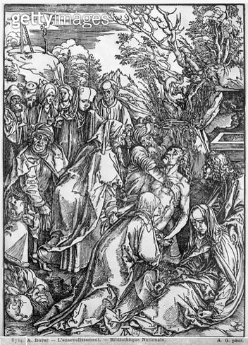 <b>Title</b> : The entombment of Christ, from 'The Great Passion' series, 1497-1500 (woodcut) (b/w photo)<br><b>Medium</b> : woodcut<br><b>Location</b> : Bibliotheque Nationale, Paris, France<br> - gettyimageskorea