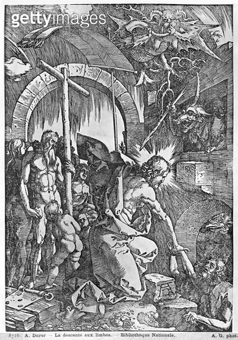 <b>Title</b> : The descent of Christ into Limbo, from 'The Great Passion' series, 1510 (woodcut) (b/w photo)<br><b>Medium</b> : woodcut<br><b>Location</b> : Bibliotheque Nationale, Paris, France<br> - gettyimageskorea