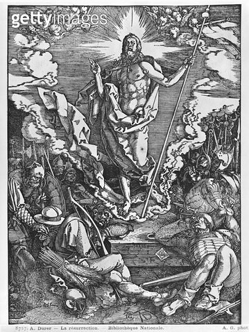 <b>Title</b> : Resurrection, from 'The Great Passion' series, 1510 (woodcut) (b/w photo)<br><b>Medium</b> : woodcut<br><b>Location</b> : Bibliotheque Nationale, Paris, France<br> - gettyimageskorea