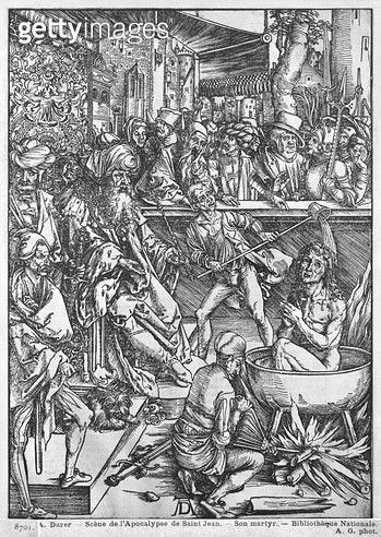 <b>Title</b> : Scene from the Apocalypse, The martyrdom of St. John the Evangelist, Latin edition, 1511 (woodcut) (b/w photo)<br><b>Medium</b> : woodcut<br><b>Location</b> : Bibliotheque Nationale, Paris, France<br> - gettyimageskorea