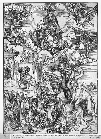 <b>Title</b> : Scene from the Apocalypse, The seven-headed and ten-horned dragon (woodcut) (b/w photo)<br><b>Medium</b> : woodcut<br><b>Location</b> : Bibliotheque Nationale, Paris, France<br> - gettyimageskorea