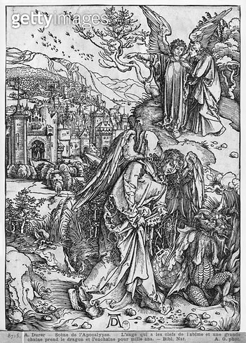 <b>Title</b> : Scene from the Apocalypse, The angel holding the keys of the abyss and a big chain, enchains the dragon for a thousand years, Latin edition, 1511 (woodcut) (b/w photo)<br><b>Medium</b> : woodcut<br><b>Location</b> : Bibliotheque Nationale,  - gettyimageskorea