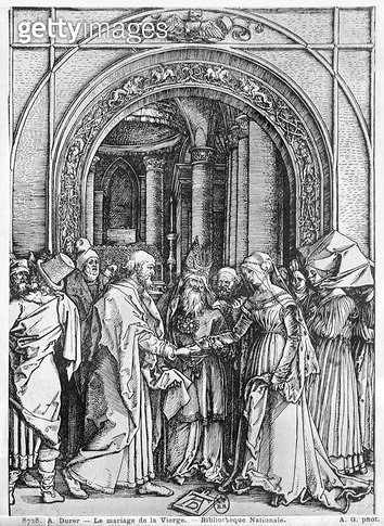 <b>Title</b> : The marriage of the Virgin, from the 'Life of the Virgin' series, c.1504-05 (woodcut) (b/w photo)<br><b>Medium</b> : woodcut<br><b>Location</b> : Bibliotheque Nationale, Paris, France<br> - gettyimageskorea