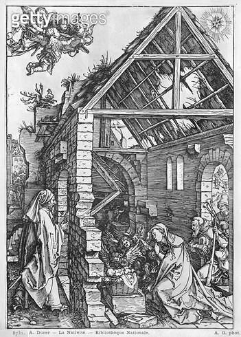 <b>Title</b> : The Nativity, from the 'Life of the Virgin' series, c.1503 (woodcut) (b/w photo)<br><b>Medium</b> : woodcut<br><b>Location</b> : Bibliotheque Nationale, Paris, France<br> - gettyimageskorea
