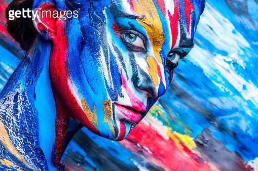 Close-Up Portrait Of Woman With Body Paint - gettyimageskorea