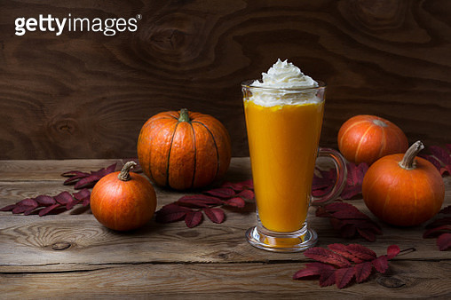 Pumpkin latte with whipped cream - gettyimageskorea