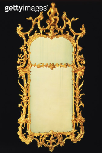 George III giltwood pier mirror/ with two plates/ elaborate cresting/ centred by the figure of a monkey on a rockwork stand/ c.1765 - gettyimageskorea