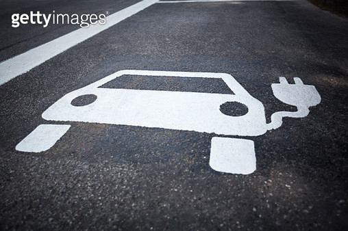 High Angle View Of Energy Efficient Sign On Road - gettyimageskorea