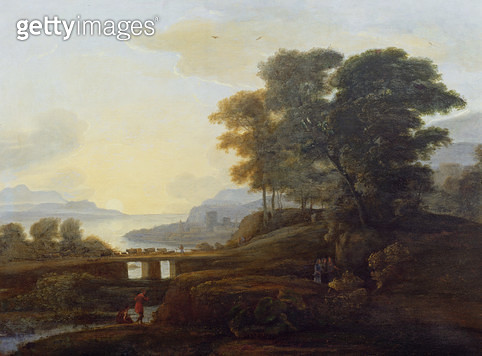 <b>Title</b> : Landscape with cattle and goats crossing a bridge<br><b>Medium</b> : oil on canvas<br><b>Location</b> : The Trustees of the Weston Park Foundation, UK<br> - gettyimageskorea