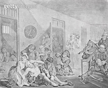 <b>Title</b> : Scene in a Madhouse, from A Rake's Progress, 1735 (engraving) (see also 2005)<br><b>Medium</b> : <br><b>Location</b> : The Trustees of the Weston Park Foundation, UK<br> - gettyimageskorea