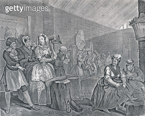 <b>Title</b> : A Harlot's Progress, Plate Four: Scene in Bridewell, 1732 (etching and engraving)<br><b>Medium</b> : <br><b>Location</b> : The Trustees of the Weston Park Foundation, UK<br> - gettyimageskorea