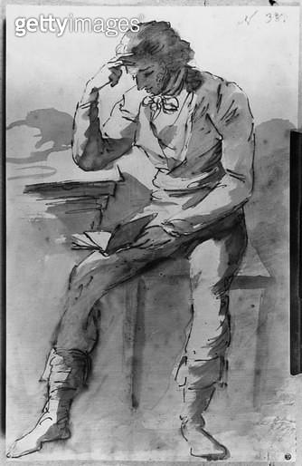 <b>Title</b> : The Reader (ink & wash on paper) (b/w photo)Additional InfoLe Liseur; Lecteur;<br><b>Medium</b> : <br><b>Location</b> : Musee des Beaux-arts et de la Dentelle, Alencon, France<br> - gettyimageskorea