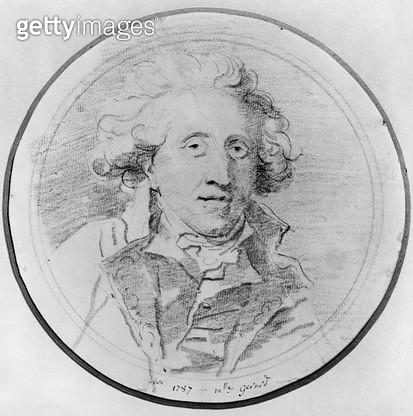 <b>Title</b> : Portrait presumed to be Jean-Honore Fragonard (1732-1806) 1787 (pierre noire on paper) (b/w photo)Additional InfoPortrait presum<br><b>Medium</b> : pierre noire on paper<br><b>Location</b> : Musee des Beaux-Arts et d'Archeologie, Besancon,  - gettyimageskorea