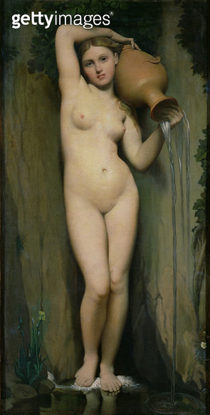 <b>Title</b> : The Source, 1856 (oil on canvas)<br><b>Medium</b> : oil on canvas<br><b>Location</b> : Musee d'Orsay, Paris, France<br> - gettyimageskorea