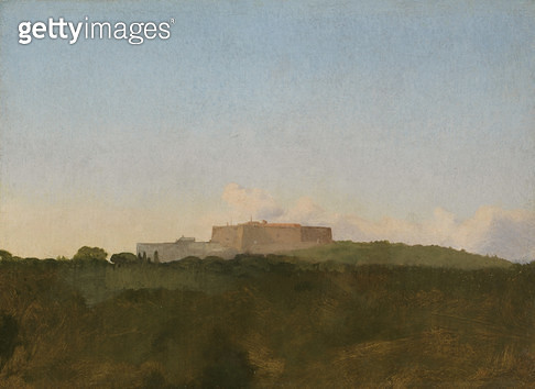 <b>Title</b> : The Castel Sant'Elmo, Naples, from the Capodimonte, 1856 (oil on paper laid down on canvas)<br><b>Medium</b> : oil on paper laid down on canvas<br><b>Location</b> : Fitzwilliam Museum, University of Cambridge, UK<br> - gettyimageskorea
