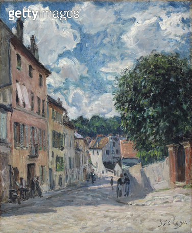 <b>Title</b> : A Street, possibly in Port-Marly, 1876 (oil on canvas)Additional InfoRue a Louveciennes;<br><b>Medium</b> : oil on canvas<br><b>Location</b> : Fitzwilliam Museum, University of Cambridge, UK<br> - gettyimageskorea