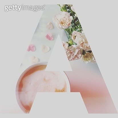 Digital Composite Image Of Flowers And Drink In Letter A Against White Background - gettyimageskorea