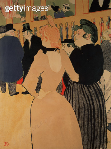<b>Title</b> : At the Moulin Rouge: La Goulue and her Sister, 1892 (litho)<br><b>Medium</b> : colour lithograph<br><b>Location</b> : Private Collection<br> - gettyimageskorea