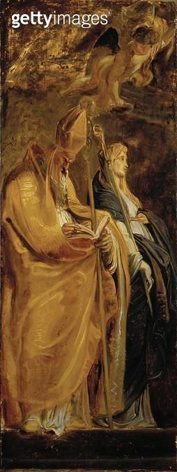 <b>Title</b> : St. Amandus and St. Walburga (panel)<br><b>Medium</b> : oil on panel<br><b>Location</b> : Dulwich Picture Gallery, London, UK<br> - gettyimageskorea