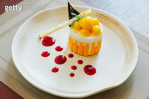 Mango coconut milk with sticky rice cake - gettyimageskorea