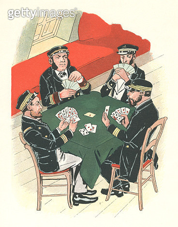 19th century French naval officers playing cards - gettyimageskorea