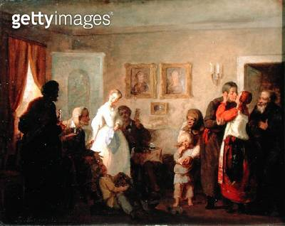 <b>Title</b> : Congratulating the Newly-Weds in a Manor House, 1860 (oil on canvas)<br><b>Medium</b> : oil on canvas<br><b>Location</b> : Tretyakov Gallery, Moscow, Russia<br> - gettyimageskorea