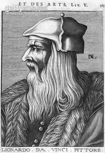 <b>Title</b> : Portrait of Leonardo da Vinci (1452-1519) (engraving) (b/w photo)<br><b>Medium</b> : engraving<br><b>Location</b> : Bibliotheque du Museum d'Histoire Naturelle, Paris, France<br> - gettyimageskorea
