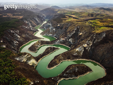 Meanders of Uvac river in Serbia - gettyimageskorea